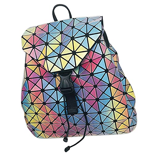 QIANJINGCQ moda todo-fósforo doble hombro gran capacidad arcoíris mochila hombres y mujeres cordón fantasma color personalidad de la computadora mochila fresca