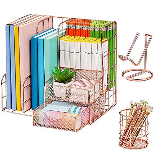 Rose Gold Desk Organiser,3 in 1 Desk Accessories for Women Office Supplies Metal Desk organisers & Decor