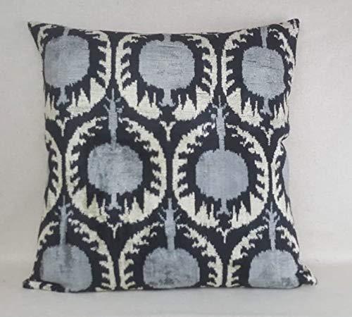 Em2342oe - Almohada de terciopelo de 16 x 16 pulgadas, almohada de terciopelo de Ikat, almohada decorativa hecha a mano de seda almohada cuadrada ikat almohada cojín de seda cala