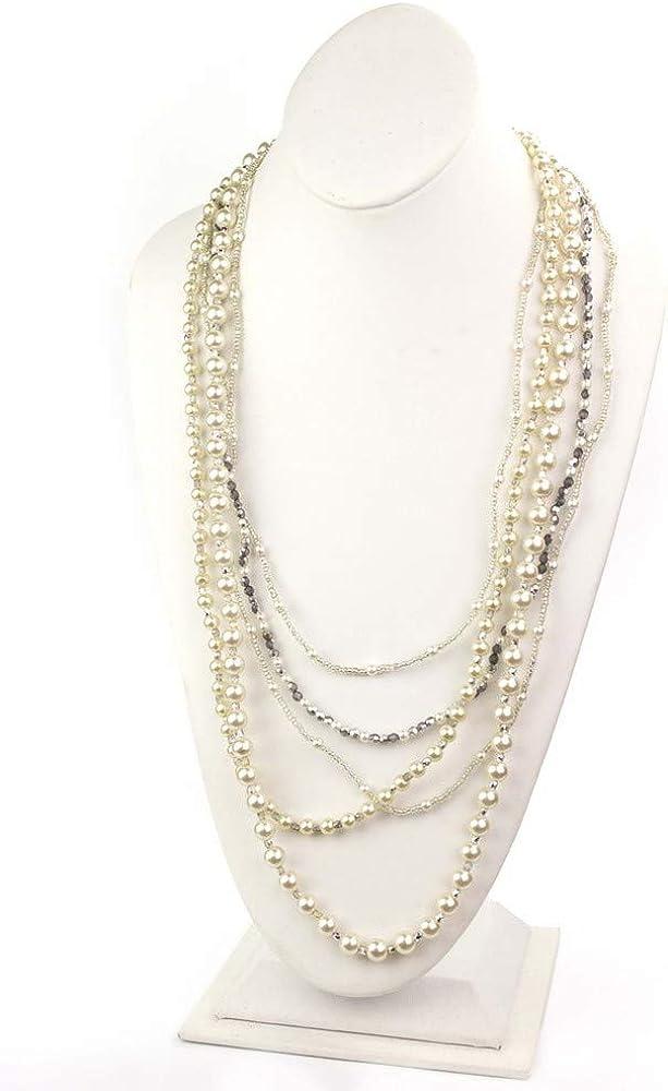 LookLove Womens Fashion Jewelry Multi Strand Pearl Necklace 36