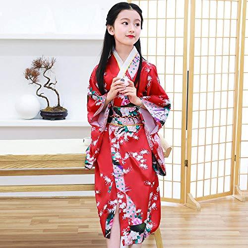 Woman Print Peacock Kimono Bathrobe Gown Yukata with OBI Lake Blue Japanese Style Belt Performance Clothing Cosplay Costume YamLym (Color : Red Style Child, Size : M)