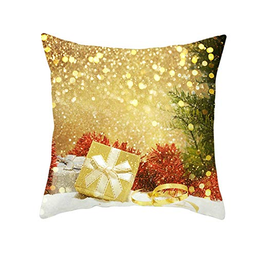 Ukilook Pillowcase,Throw Pillows Covers Box Polyester Square Throw Pillows Covers,Modern Cushion Cover Pillowcase Christmas theme, No Pillow Insert, (20x20 Inch, Gold)