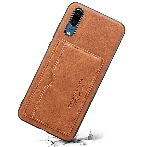 Funda caretra Tarjetero cuero sintético con ranura para tarjetas, fino y ultraligero con función de soporte, Marrón, iPhone XR