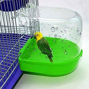 Fltaheroo Oiseau Baignoire d'eau pour Animal de Compagnie Cage à Oiseaux Suspendus Bol Perroquets Perruche Oiseau Bain 1 Pièce SéRie