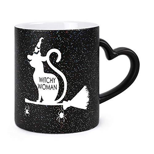 Best Funny Coffee Mug Witchy Woman Sitting on Magic Broom Stars Tea Cups & Coffee Mug 11OZ For Girls, Husband, Wife, Men, For Women