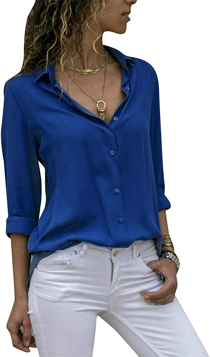 YMING Womens Lapel Button Down Chiffon Shirts Casual Solid Color Office Blouse Long Sleeve Tops Plus Size