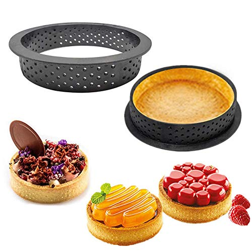 BYBYCD - Cortador de postres para hornear de forma redonda para decorar tartas, mousse y tartas, círculo perforado
