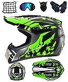 DRYT Casco Motocross Niño, Casco de motocross profesional Cascos de Cross de Moto Set con Gafas/Máscara/Guantes, para MTB Casco Enduro MX Quad ATV de Descenso (C,S: 55-56 cm)