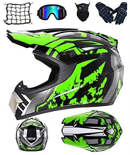 DRYT Casco Motocross Niño, Casco de motocross profesional Cascos de Cross de Moto Set con Gafas/Máscara/Guantes, para MTB Casco Enduro MX Quad ATV de Descenso (C,M: 57-58 cm)