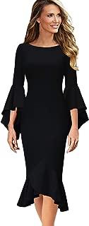 VFSHOW Womens Ruffle Bell Sleeve Cocktail Party Mermaid Midi Mid-Calf Dress