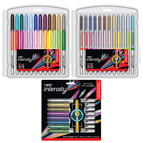 BIC Intensity Permanent Marker Coloring Bundle, Assorted Fine/Ultra Fine Tips, Assorted Fashion and Metallic Colors, 56-Count