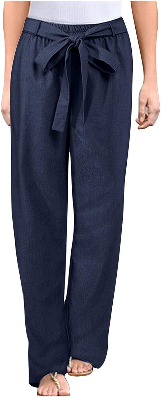 BEIBEIA Women Plus Size Floral Print Cotton Linen Trousers Pocket Casual Pants Elastic Boho Palazzo Wide Leg Pj Pants