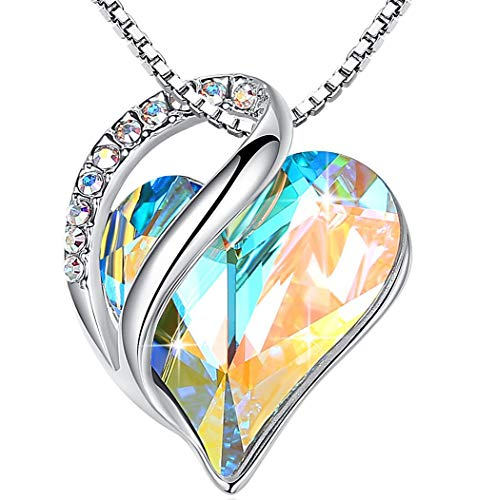 LeafaelquotInfinity Lovequot Heart Pendant Necklace Made with Swarovski Crystals White Opal Color April Birthstone Jewelry Gifts for Women Silvertone 18quot2quot Presented by Miss New York