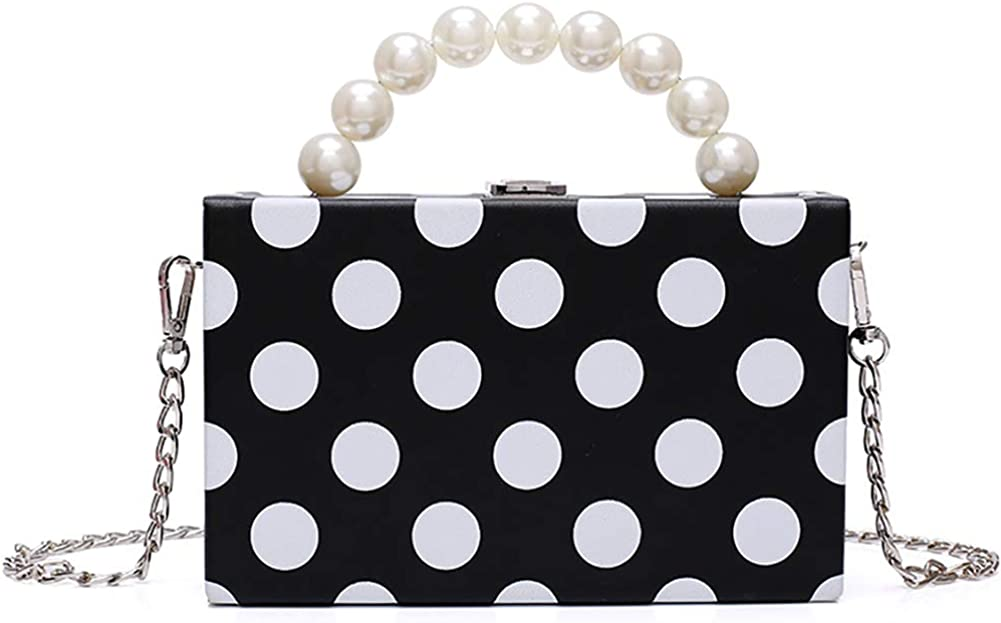 KEKY Women's Polka Dot Handbag White Red Stylish Shoulder Bags Chic Party Wedding Clutch Beaded Mini Bag
