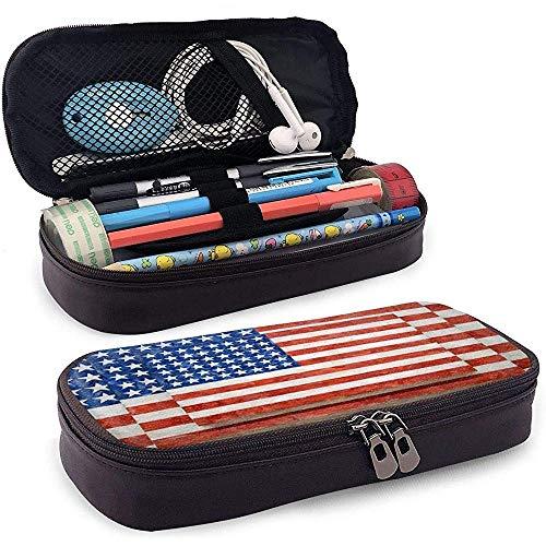 Drei Flaggen amerikanische Flagge Leder Federmäppchen mit großer Kapazität Kosmetiktasche Federbeutel