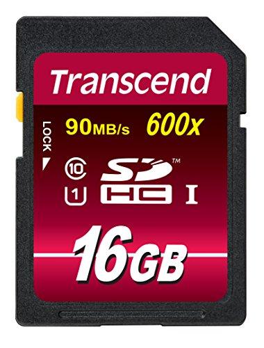Transcend TS16GSDHC10U1E Carte Mémoire SDHC 16 Go UHS-I 600x [Emballage « Déballer sans s'énerver par Amazon »]