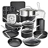 Granitestone 20 Pcs Pots and Pans Set, Complete Cookware Bakeware Set with Ultra Nonstick Durable...