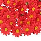 UFLF 100pcs Flores Margaritas Artificiales Rojo 4cm Cabezas de Giralsol Pequeña de Seda Flores Falsas Gerberas para Decoración Hogar Boda Ceremonia DIY Manualidad