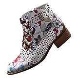 Botas Militares para Mujer Otoño Tobillo Tacón Ancho Bajo PAOLIAN Botines Mujer Invierno Cortas Piel Sintético Fiesta Moda con Cordones Cremallera Zapatos Vestir Mujer Estampados