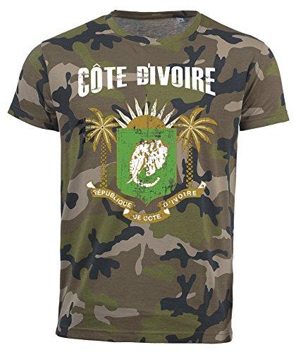 T-Shirt Elfenbeinküste Camouflage Army WM 2018 .- Vintage Destroy Wappen D01 (2XL)