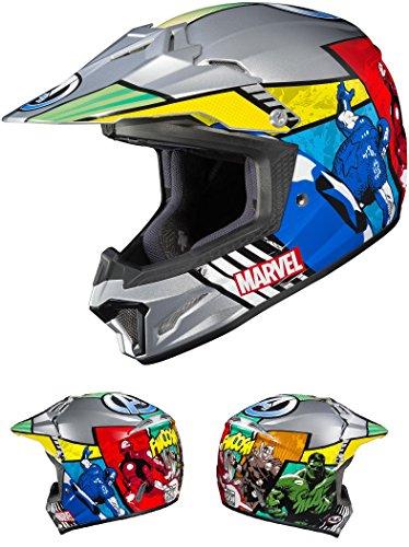 marvel motorcycle helmets HJC Helmets CL-XY II Marvel Avengers Youth Helmet Blue/Red (MC-21) Small Gray Blue/Red (MC-21)