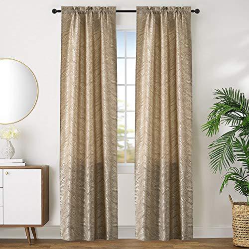 GIRASOLE Par de cortinas opacas con diseño de ondas efecto metalizado, cortinas aislantes para salón, dormitorio, oficina, balcón, puerta y ventana, 2 paneles con bolsillo (dorado pálido, 70 x 240 cm)