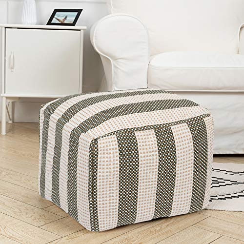 HIGOGOGO Pouf Cover, Unstuffed Stripe Pattern Ottoman Handwoven Foot Stool Square Floor Cushion Cover Unfilled Braided Footrest Cushion for Storing Clothes Towel Plush Toy, Green, 16.5'x16.5'x12.9'