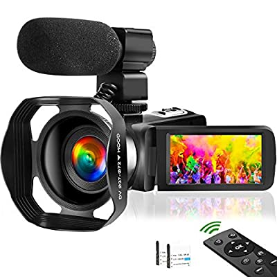 4K Video Camera Camcorder Vlogging Camera for YouTube UHD 48M 30FPS Digital Zoom Camcorder Infrared Night Vision 3 in Touch Screen Recorder with Hood Support Webcam Microphone from SAULEOO