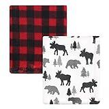 Hudson Baby Unisex Baby Cozy Plush Luxury Blankets 2pk, Moose Buffalo Plaid, One Size