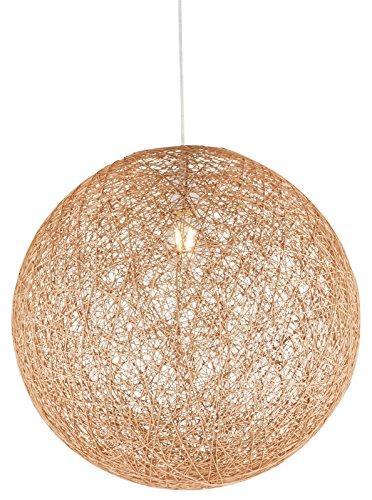 Große Hängelampe Kugel Papier-Geflecht 1-Flammig Hängeleuchte Pendelleuchte Schlafzimmerlampe (Pendellampe, Wohnzimmerlampe, 44 cm, Höhe 130 cm, Braun)