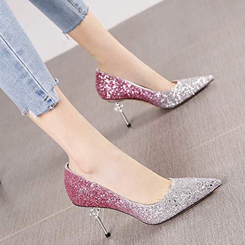 HRCxue Pumps Strass Farbverlauf Spitzen Stiletto Heels Damenmode Sexy Schuhe, 39, Pink