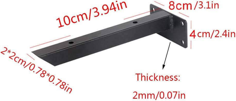 10cm//3.94in Schwimmend Regalwinkel Wandkonsole Schwarz Modern Eisen Dreieck Regaltr/äGer,2x2cm Quadratische R/öhre,Metall Rechtwinklig Winkeltr/äger,mit Schrauben,2 St/ück