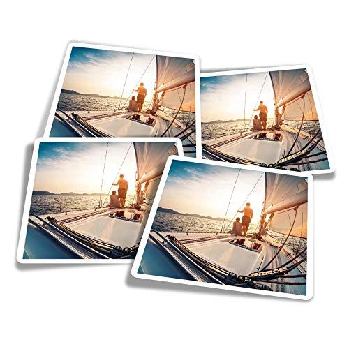 Pegatinas de vinilo (juego de 4) 10 cm – Sunset Sailing Boat Yate Sail divertidos adhesivos para ordenadores portátiles, tabletas, equipaje, reserva de chatarra #16156