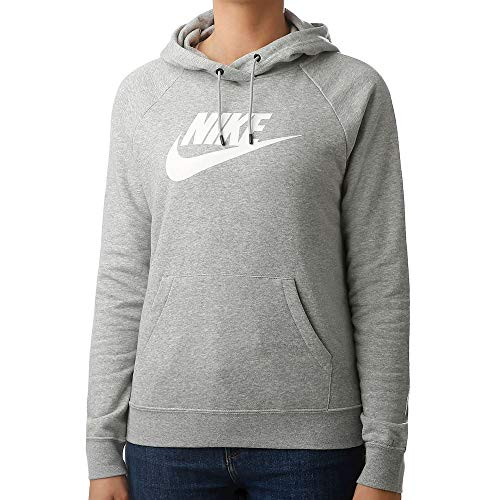 Nike Damen Sportswear Essential Pullover Hoodie, Dark Grey Heather/White, L