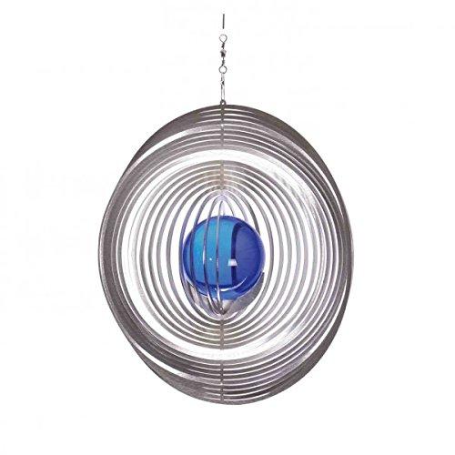 Illumino Edelstahl-Windspiel Kreis mit kobaltblauer 35mm Glaskugel