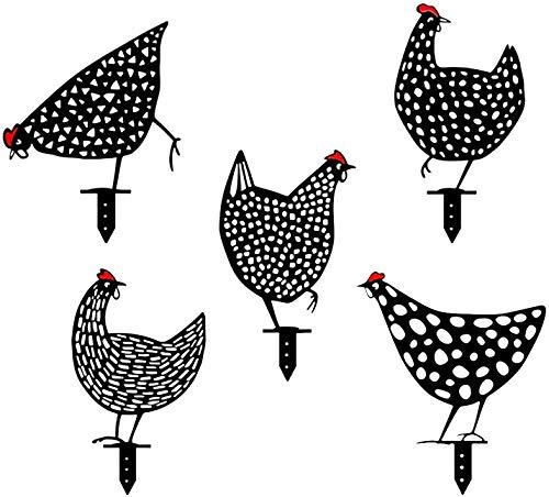 Figuras de metal para jardín, gallinas Yard Chicken Art hechas a mano, decoración de jardín, patio trasero, postes de metal, gallina, yard (5 unidades)
