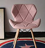 Midland Oak Furniture FRR MoF Eiffel Style Dining Wooden Chairs Wood Legs & Comfortable Padded Seat Home Office Design Chair Dining chair (PINK, 1 …