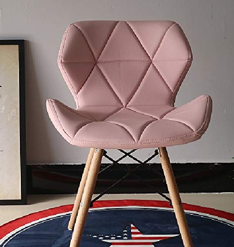 MOF Style Dining Wooden Chairs Wood Legs & Comfortable Padded Seat Home Office Design Chair Dining chair (pink)