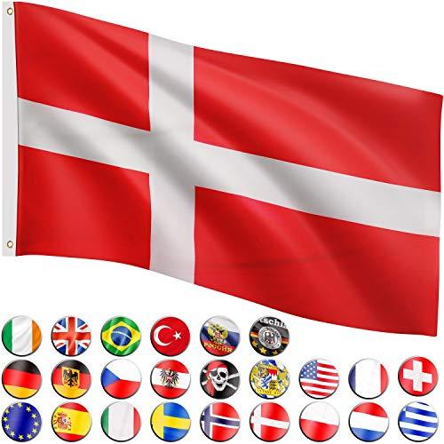Flagmaster Bandera 120x80 cm, 24 Banderas Diferentes para Elegir, Ojales metálicos para sujeción, Bandera Dinamarca