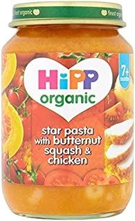 Hipp Organic Star Pasta with Sweet Squash and Chicken Stage 2-7 Months 190 g (Pack of 12)