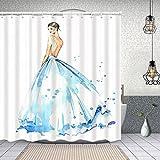 Yoliveya Wasserdichter Duschvorhang,Junge Frau im Langen Abendkleid,Drucken von Badvorhängen mit 12 Haken 180x180cm