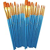 Paint Brush Set by heartybay, 2Pack 20 Pcs Nylon Hair Brushes for Acrylic Oil Watercolor Painti…