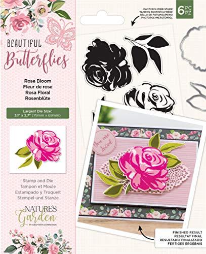 Naturen Tuin Mooie Vlinders Collectie-Stempel en Die Set-Rose Bloom, Zilver, Een Maat