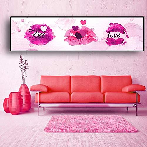 UIOLK Cartel de Labios Rosados Amor Beso Abstracto nórdico Creativo y Lienzo de impresión Pintura Simple corazón Femenino decoración del Dormitorio Imagen de Pared