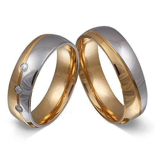 Trauringe Hochzeitsringe Partnerringe Freundschaftsringe - inkl. WUNSCHGRAVUR - Edelstahl Zirkonia 50-54 168HDla - mit AMAZON KONFIGURATOR direkt online gestalten !