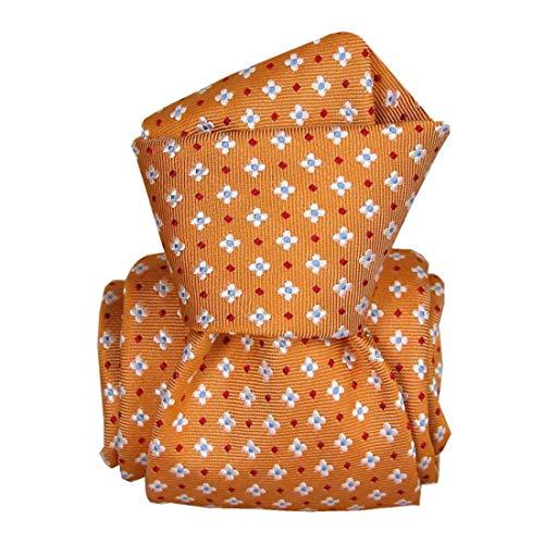 Segni et Disegni. Cravate artisanale. Seville, Soie. Orange, carreaux. Fabriqué en Italie.