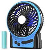 Mini Portable Battery Operated Desk Fan, Rechargeable & USB Powered Handheld Fan with Atmosphere Light & Flashlight, Strong Airflow, 3 Speeds, Small Personal Hand Held Fan for Desktop Camping, Blue