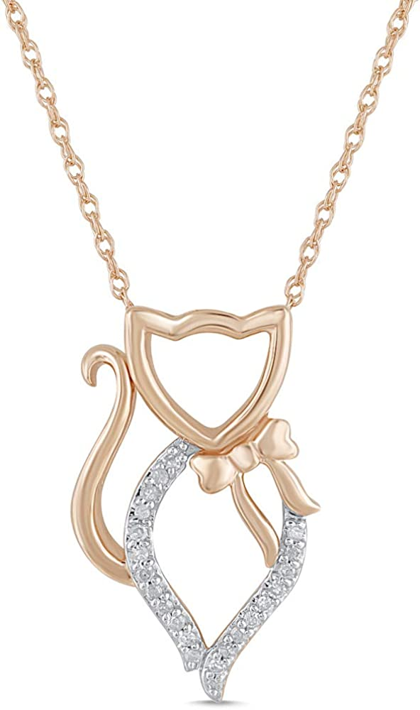 Diamond Cat Pendant Necklace in 10k Rose - cttw 1 Gold 18 Our shop OFFers the best service Inc 20 Import