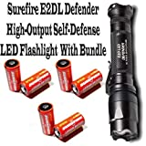 Surefire E2DL-BK Defender High-Output Self-Defense LED Flashlight With 6 SF123A Batteries