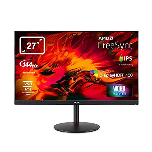 "Acer Nitro XV273KPbmiipphzx Monitor Gaming FreeSync da 27"", Display IPS 4K Ultra HD(3840x2160), 144Hz, 350 (400 Peak)cd/m2, 1 ms (VRB), 2xHDMI, 2xDP, USB 3.0, Speaker Integrati, Regolazione in Altezza"